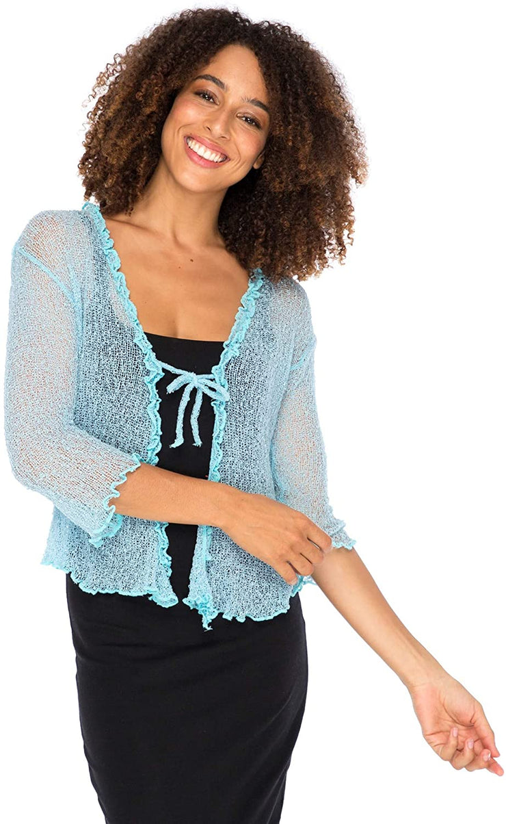 Sheer Shrug Cardigan Sweater with Ruffle Tie Lightweight Knit