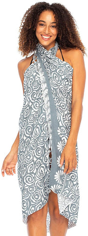 Sarong Wrap Beach Cover Up Boho Circle Print with Clip