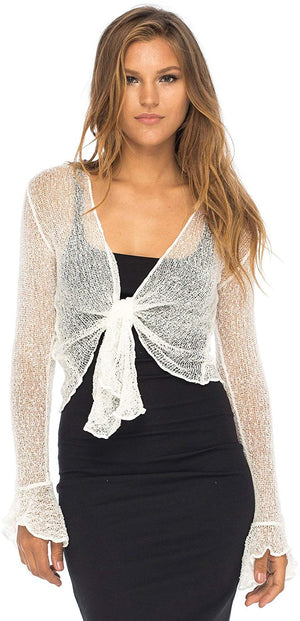Back From Bali Womens Sheer Shrug Bolero Long Sleeves Cropped Cardigan Lite Bell Sleeves Cream Off White S/M