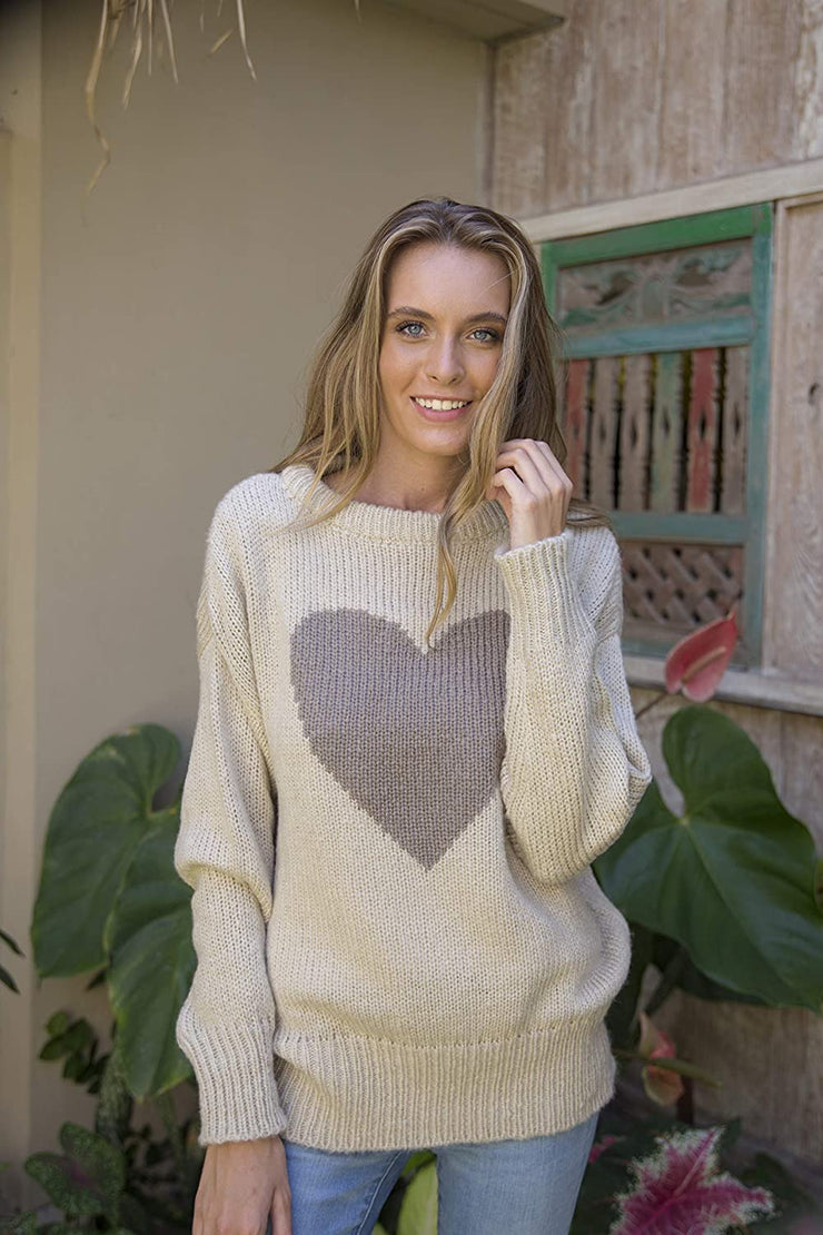 Back From Bali Womens Heart Sweater Soft Knit Pullover Crewneck Brown S/M Long Sleeve Winter Sweater