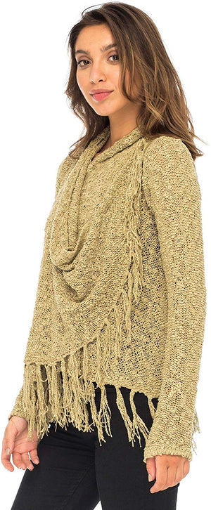 Open Front Long Sleeve Cardigan-Lightweight Fringe Sweater