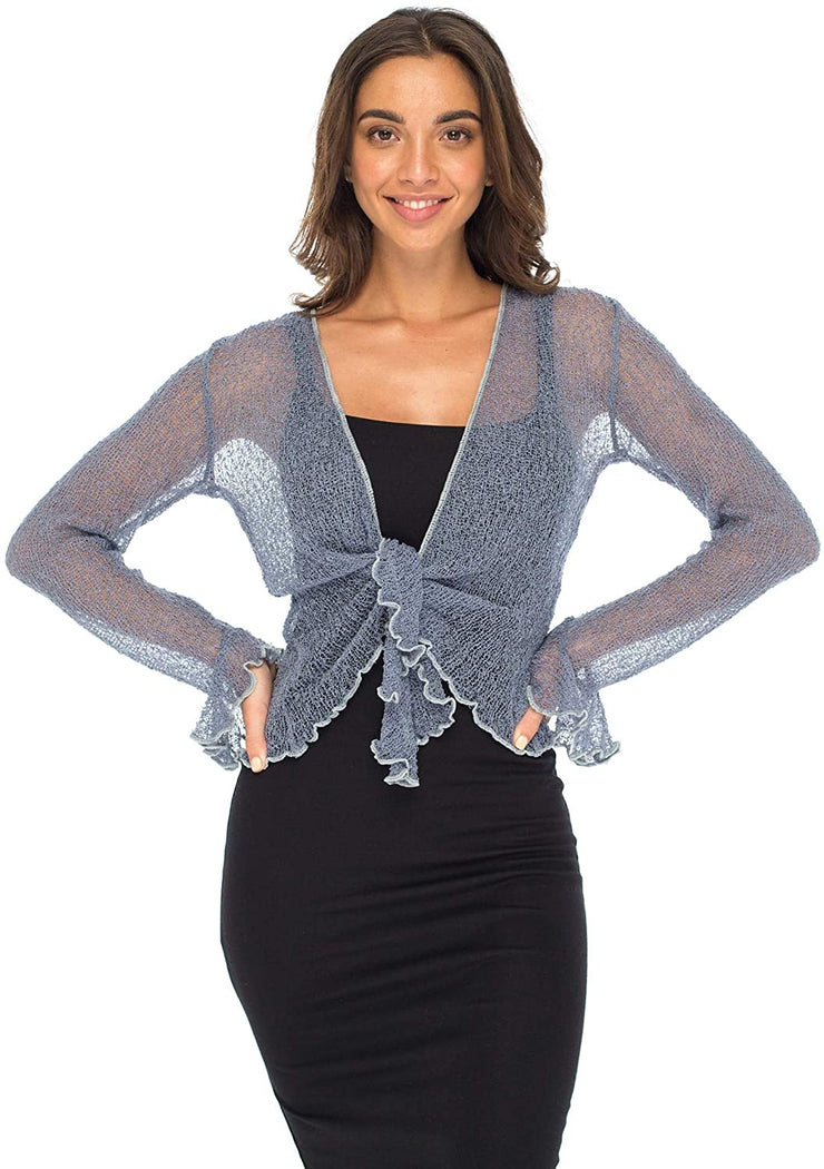 Back From Bali Womens Sheer Shrug Bolero Long Sleeves Cropped Cardigan Lite Bell Sleeves China Blue S/M
