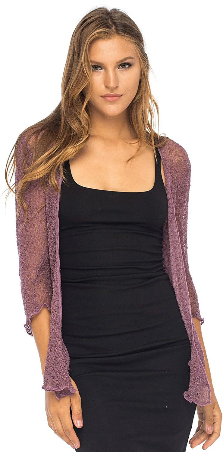 Back From Bali Womens Sheer Shrug Cardigan Lightweight Knit