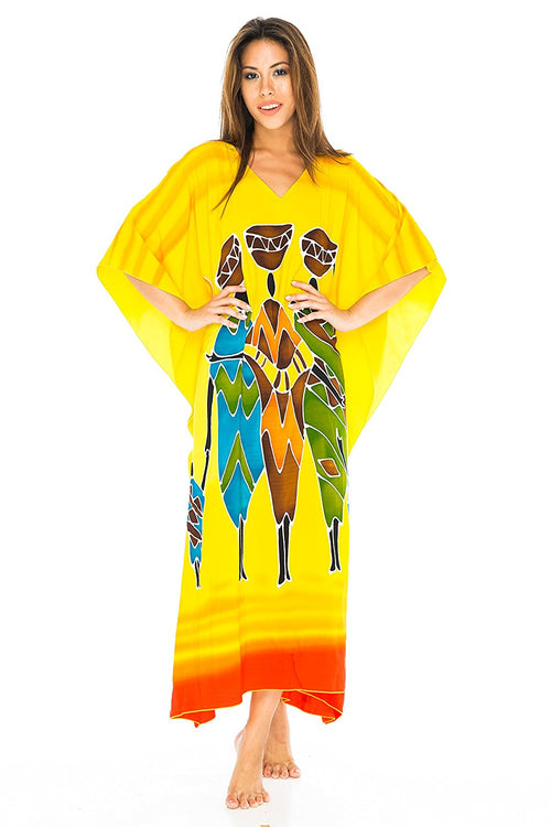 Long African Print Beach Swim Suit Cover Up Caftan Poncho