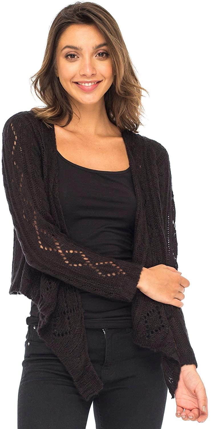 Back From Bali Womens Cable Knit Shrug Bolero Long Sleeve Boho Cardigan Tie Front Black Large/X-Large