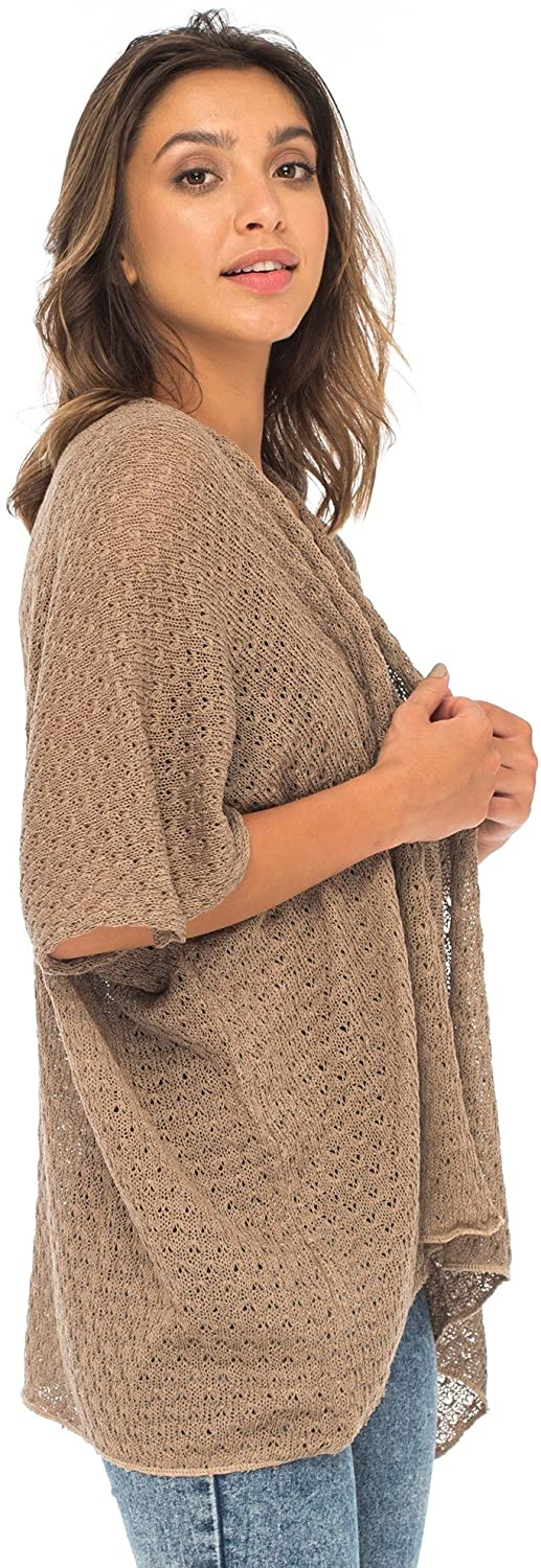 Back From Bali Womens Long Shrug Cotton Cardigan Sweater, Open Front Short Sleeve for Dresses, Pants Beige