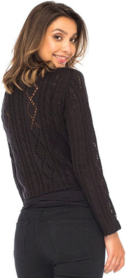 Back From Bali Womens Cable Knit Shrug Bolero Long Sleeve Boho Cardigan Tie Front Black Small/Medium