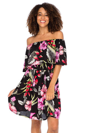 Off Shoulder Floral Print Boho Dress Short Ruffle Beach Sundress