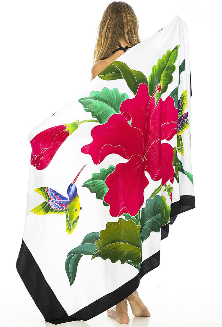 Hibiscus Flower and Hummingbird Sarong Swimsuit Cover Up