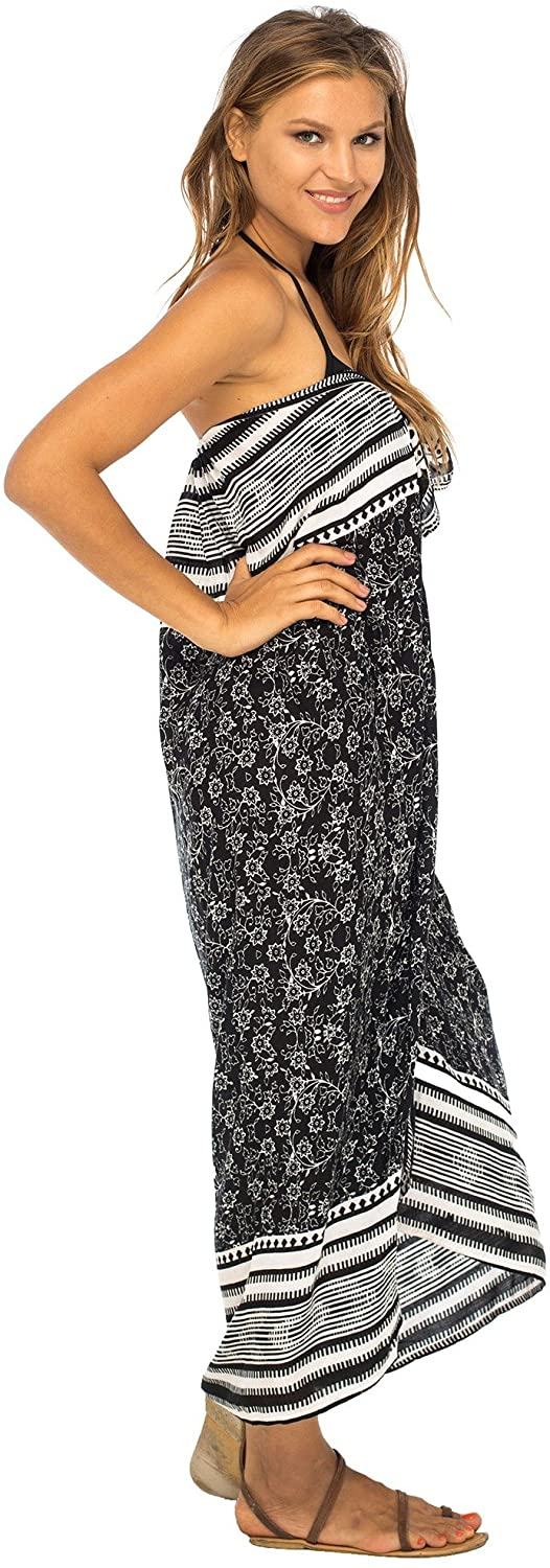 Beach Dress Sarong  Swimsuit Cover up with  Built-in Ties at Bust