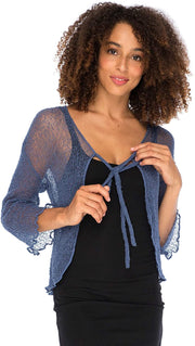 Back From Bali Womens Sheer Shrug Cardigan Cropped Bolero Jacket Lightweight Knit with Ties