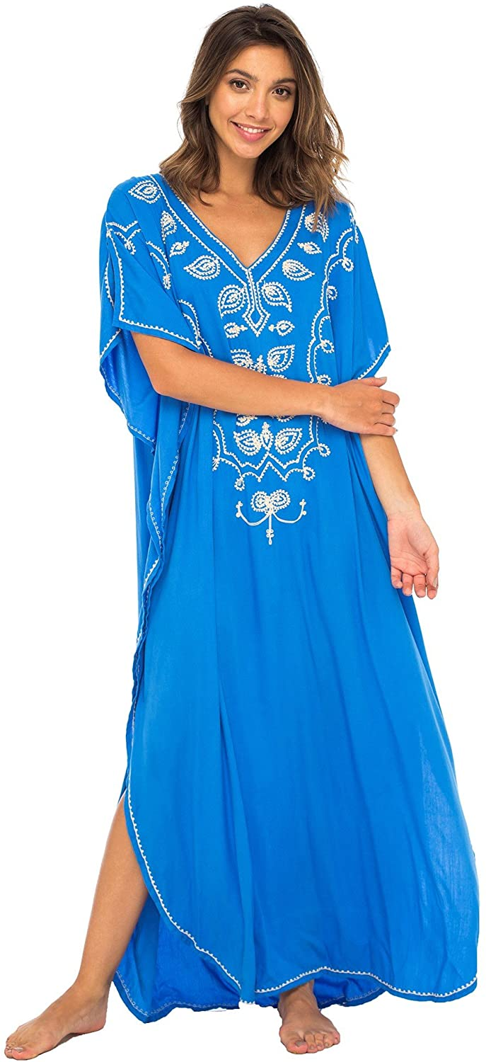 Long Maxi Swimsuit Bathing Suit Cover up Dress Boho Embroidered Kaftan