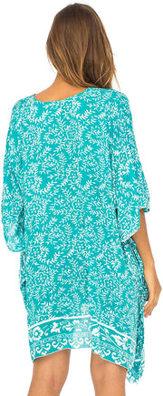 Short Lightweight Swimsuit Beach Cover Up Tunic Small Floral Print