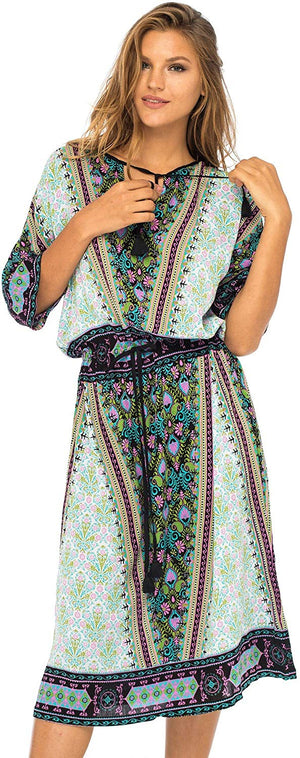 Back From Bali Carla Midi Dress Womens Long Summer Floral Print Medium Blue