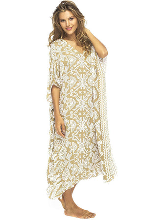 Back From Bali Artha Long Poncho Womens Maxi Beach Dress Caftan Primitive Mocca