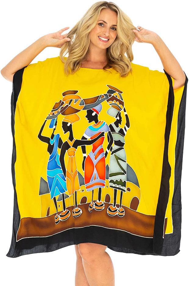 Back From Bali Womens Beach Swim Suit Cover Up Caftan Poncho Short Africa Four Sisters Yellow