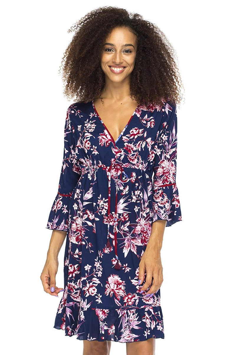 Short Dress Floral Print Ruffle Hem Boho V Neck Bell Sleeves
