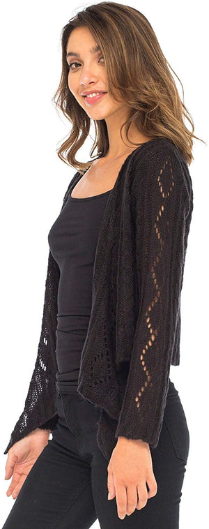 Shrug Cardigan Open Tie Front, Lightweight Soft Cable Knit