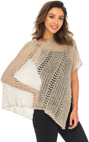 Lightweight Knit Shrug-Pullover Poncho Sweater