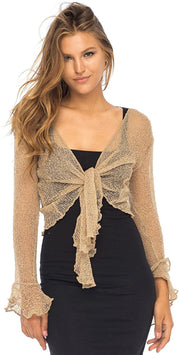 Back From Bali Womens Sheer Shrug Bolero Long Sleeves Cropped Cardigan Lite Bell Sleeves Mocca L/XL