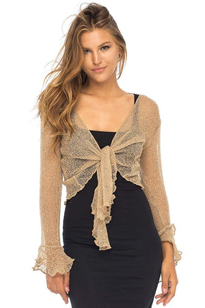 Back From Bali Womens Sheer Shrug Bolero Long Sleeves Cropped Cardigan Lite Bell Sleeves