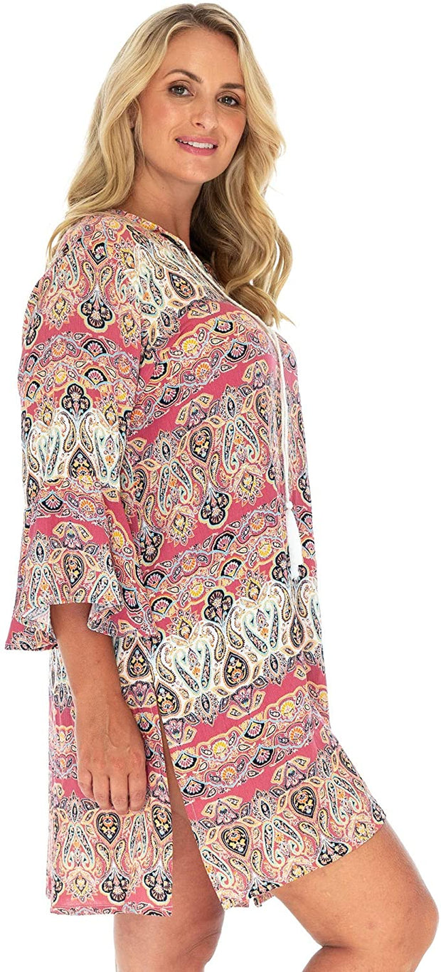 Boho Print V Neck Tunic Dress Crinkle Rayon Bell Sleeves