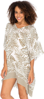 Back From Bali Womens Boho Swimsuit Cover Up Beach Dress Tunic Top Bohemian Leaf Print Short Kaftan Mocca S/M