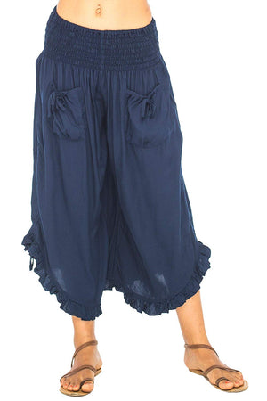 Back From Bali Womens Wide Leg Comfort Elastic Waist Crop Ruffle Hem Audi Pants Navy L/XL