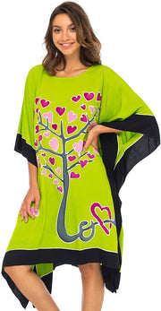 Back From Bali Womens Swimwear Cover Up, Swimsuit Beach Dress Kaftan Poncho in Love Tree Design Lime S/M