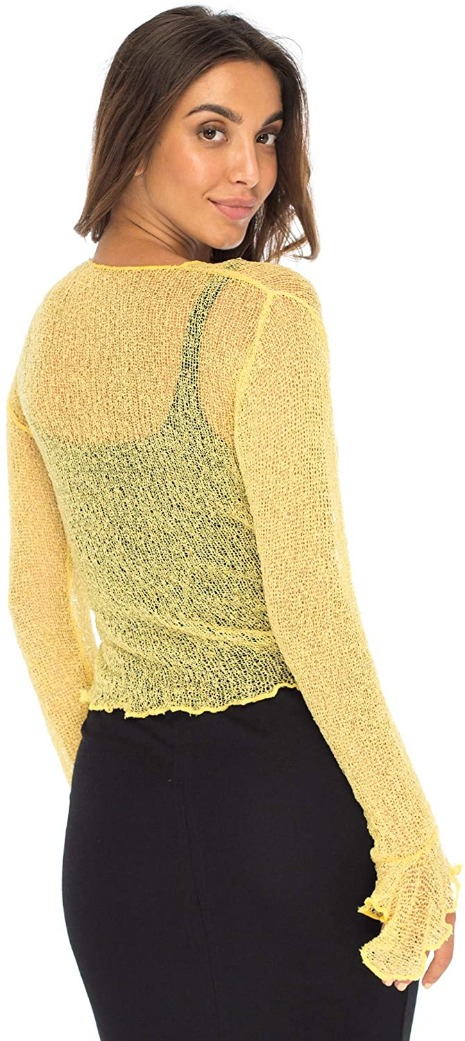 Back From Bali Womens Sheer Shrug Bolero Long Sleeves Cropped Cardigan Lite Bell Sleeves Sweet Yellow S/M