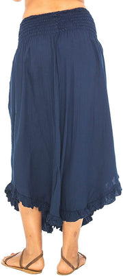 Back From Bali Womens Wide Leg Comfort Elastic Waist Crop Ruffle Hem Audi Pants Navy M/L