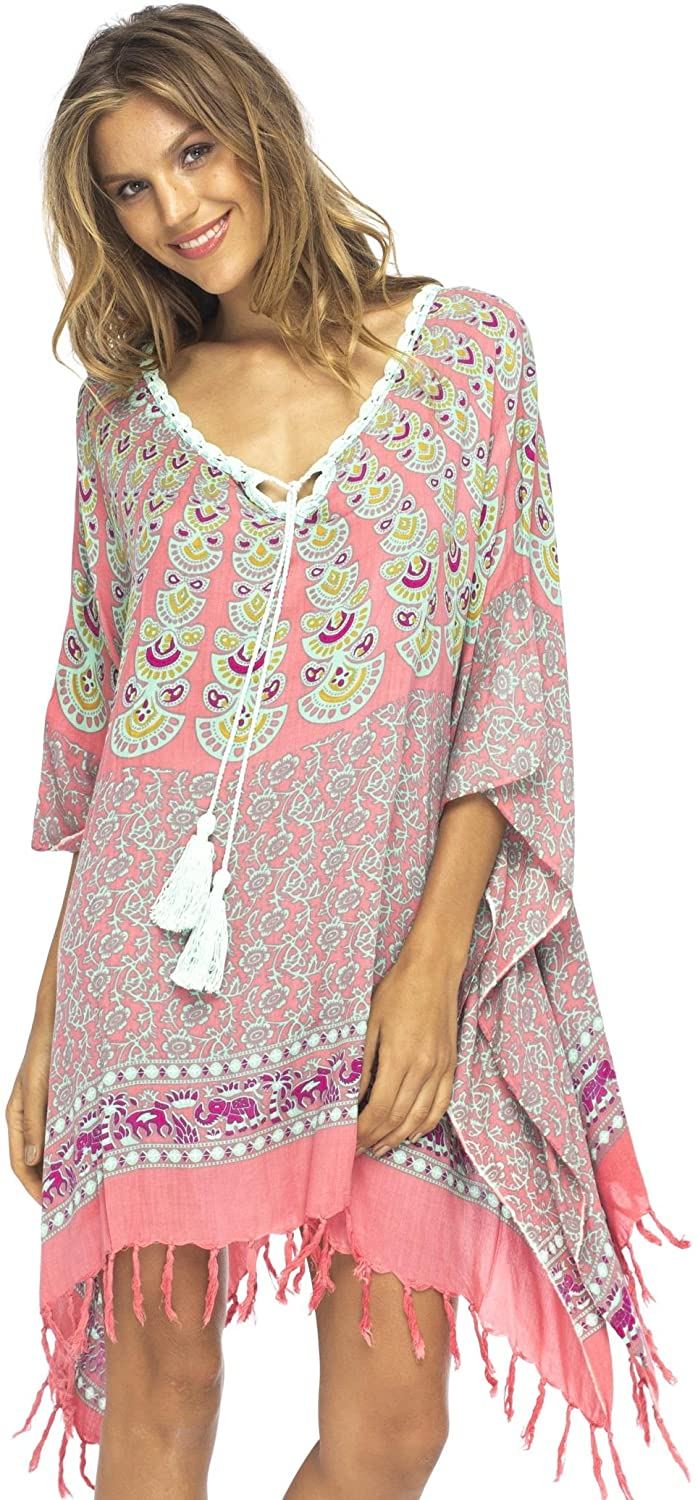 Boho Style Short Swimsuit Cover Up Loose Peacock Tunic with Crochet Neckline