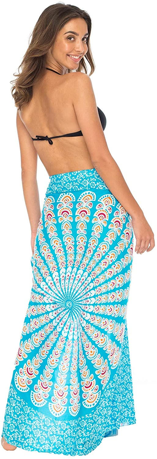 Back From Bali Womens Beach Swimsuit Bikini Cover Up Wrap and Clip Sarong Peacock Turquoise Fiesta