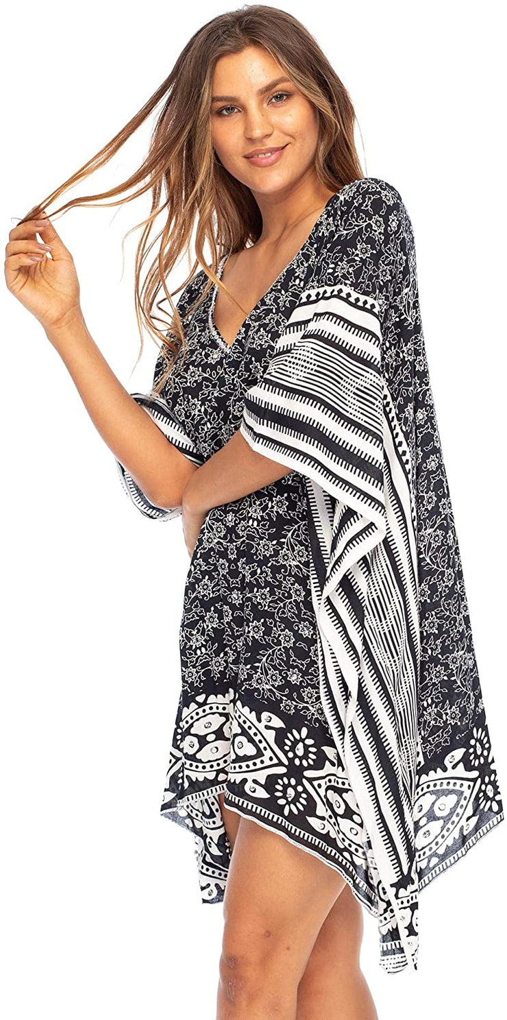 Swimwear Cover Up Bordered Beach Dress for Bikini Swimsuit with Sequins