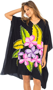 Back From Bali Womens Swimwear Cover Up, Frangipani Floral Beach Dress, Tunic Sundress Poncho Black S/M