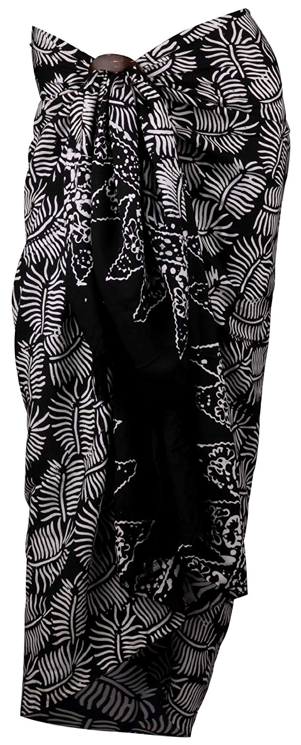 Back From Bali Womens Sarong Swimsuit Cover Up Beach Wear Bikini Wrap Skirt with Coconut Clip Black White Palm