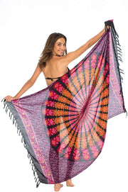 Back From Bali Womens Beach Swimsuit Bikini Cover Up Wrap and Clip Sarong Peacock Gaza Black Pink