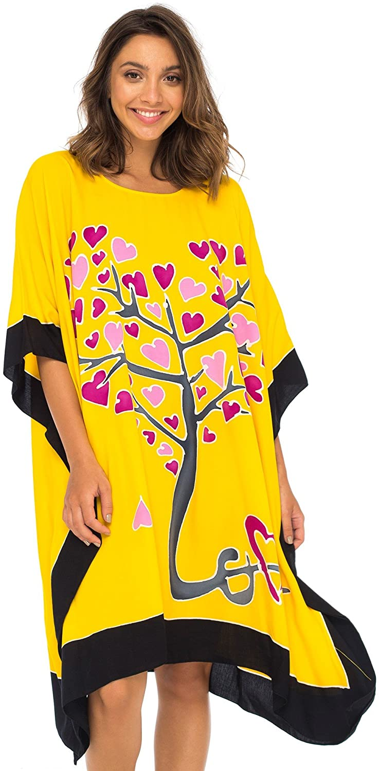 Back From Bali Womens Swimwear Cover Up, Swimsuit Beach Dress Kaftan Poncho in Love Tree Design Yellow L/XL