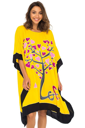 Opaque Batik Beach Cover Up Caftan in Love Tree Design