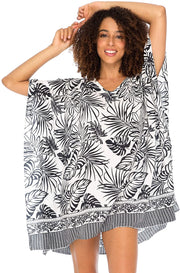 Back From Bali Womens Boho Swimsuit Cover Up Beach Dress Tunic Top Bohemian Leaf Print Short Kaftan Black S/M