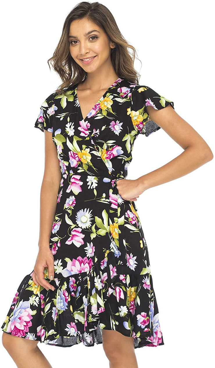 Back From Bali Womens Wrap Dress Floral Print Deep V Neck Short Sleeves Knee Length Boho Black X-Large