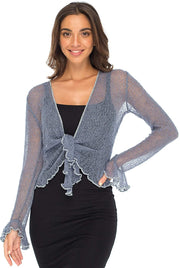 Back From Bali Womens Sheer Shrug Bolero Long Sleeves Cropped Cardigan Lite Bell Sleeves China Blue L/XL