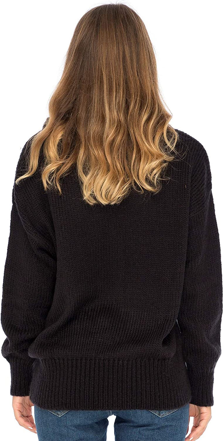 Back From Bali Womens Heart Sweater Soft Knit Pullover Crewneck  Black S/M Long Sleeve Winter Sweater