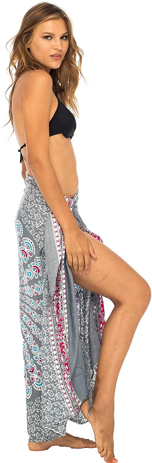 Back From Bali Womens Beach Swimsuit Bikini Cover Up Wrap and Clip Sarong Peacock Gaza Grey