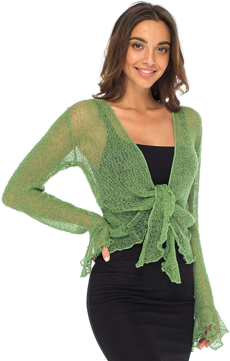 Back From Bali Womens Sheer Shrug Bolero Long Sleeves Cropped Cardigan Lite Bell Sleeves Green S/M