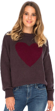 Back From Bali Womens Heart Sweater Soft Knit Pullover Crewneck Brown L/XL Long Sleeve Winter Sweater