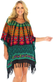 Swimsuit Cover Up Short Beach Poncho Boho Peacock Tunic Caftan Black Rayon