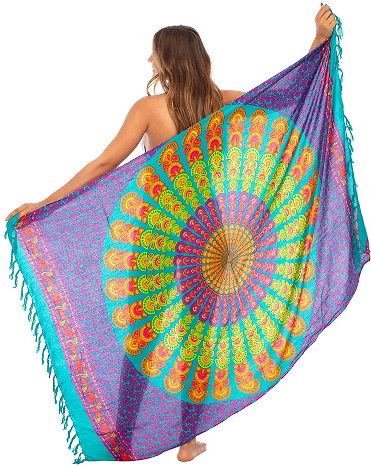 Back From Bali Womens Beach Swimsuit Bikini Cover Up Wrap and Clip Sarong Peacock Tosca Pink