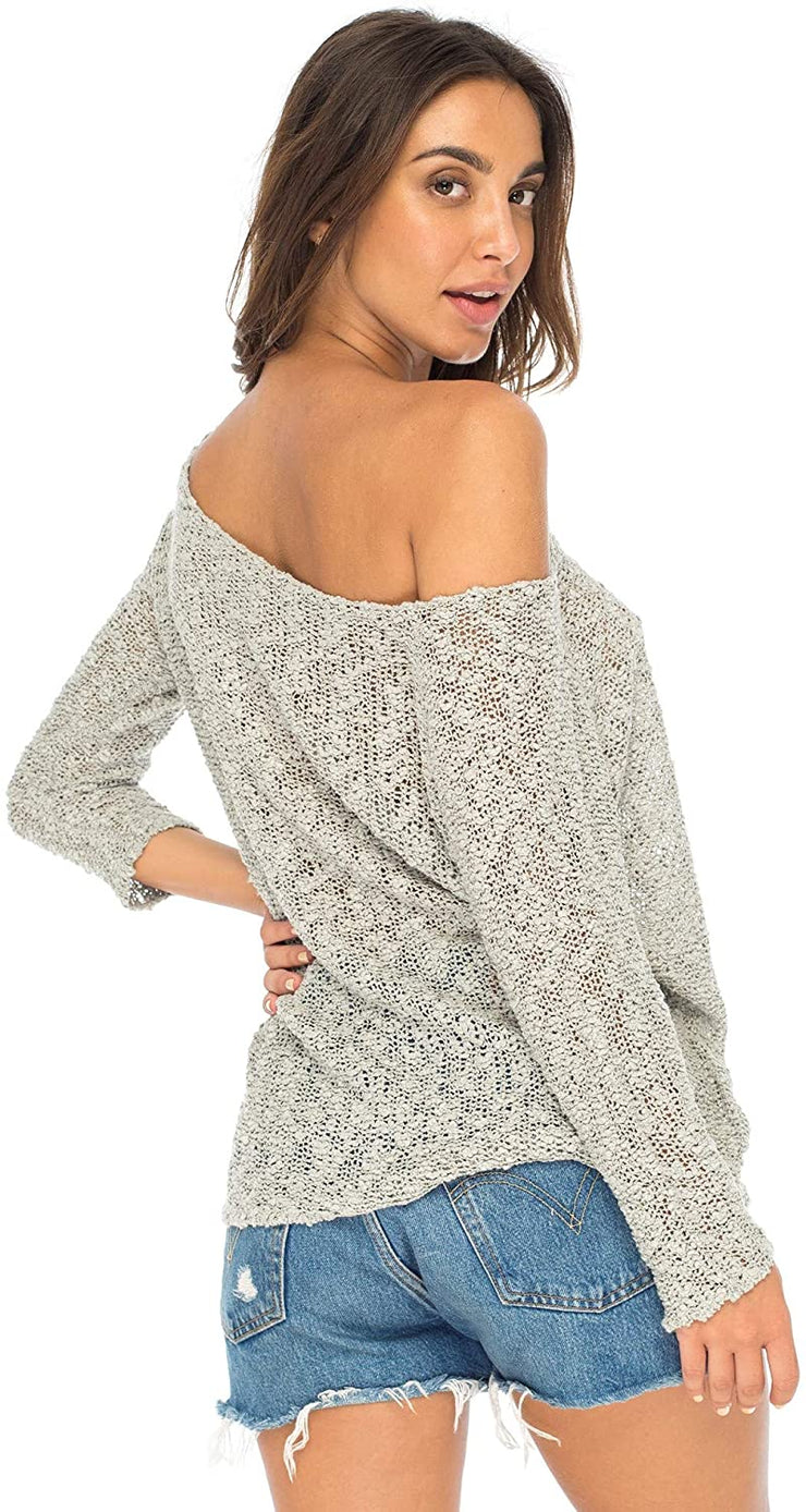 Back From Bali Womens Off Shoulder Pullover Sweater Oversized Lightweight Knit Boho Loose Summer Top Grey L/XL