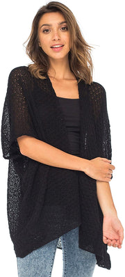 Back From Bali Womens Long Shrug Cotton Cardigan Sweater, Open Front Short Sleeve for Dresses, Pants Black